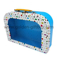 Hinged suitcase with PVC window plus metal handle and lock