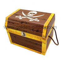 Rigid paperboard pirate treasure chest with metal lock and key with pp string handles