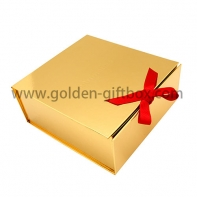 Foldable foil fold paper foldable box with ribbon for closure