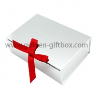 Foil silver paper board  foldable box with ribbon for closure