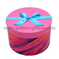 Lid & base round gift box cake box with round flower box hat box and ribbon bow on lid