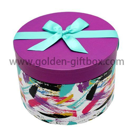 Wholesale round birthday cake box and wedding cake box round flower box hat box ribbon bow on lid