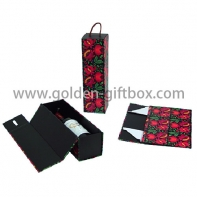 Custom design beautiful pattem  foldable cardboard single wine box  and PP string handle