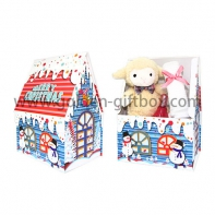 Decorative Christmas house shape can Christmas gift packaging box