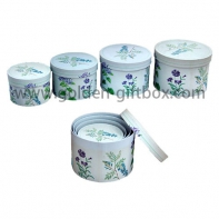 Custom Round Mixed Flower Pattern Paper Party Cardboard Gift Boxes