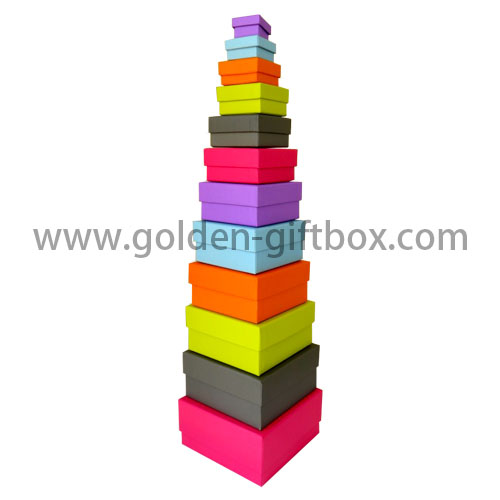 Customized Logo Rectangle Cardboard Box Color Drawer Gift Box