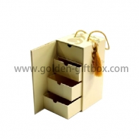 4 levels drawer box with closing flap and elegant PP string handle