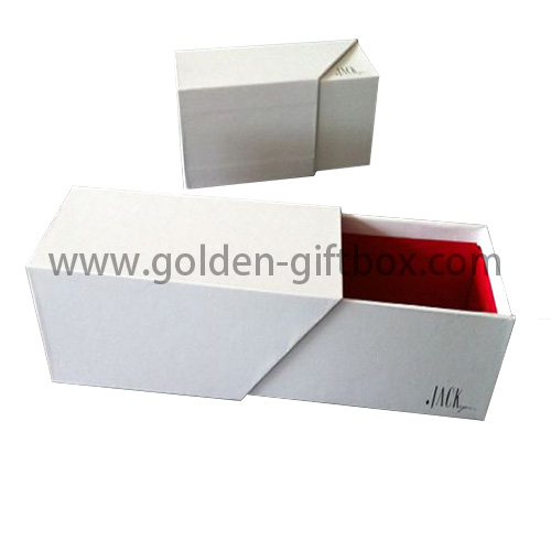 Snow white fancy paper drawer box with red inner paper and ribbon puller