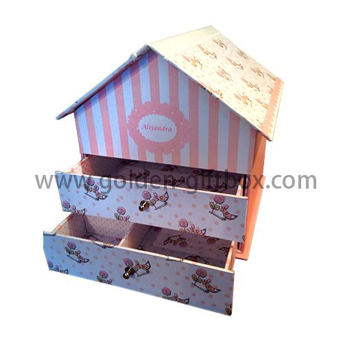 House shape box with drawers and cute pattern design