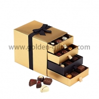 Foil gold paper drawer box with 4 drawers and ribbon bow for decration