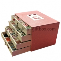 Fancy paper 4 drawers tea bag box with elegant pattern design
