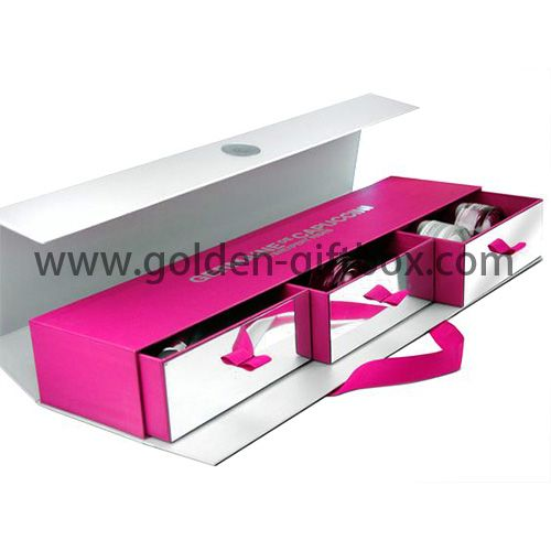 Metallic paper drawer box with 3 drawers and sleeve for gift set