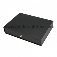 Black fancy paper drawer box with metal puller for jewekry, gifts & premium
