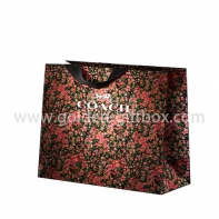 Beautiful flowers pattern design paper bag with ribbon handles