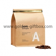 Kraft paper packaging bag for coffee beans with plastic pin for closure