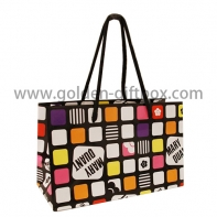 Colourful chequer pattern shopping bag with long cotton string handles