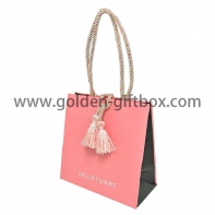 Pink colour shopping bag with decoration and  long PP string handles