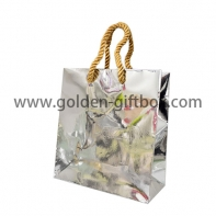 Elegant foil silver shopping bag with gold PP string handles