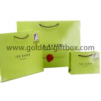 Green colour shopping bags with glossy lamination and different sizes