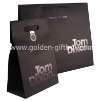 High quality shopping bags with gold hot stamping and die-cut holes