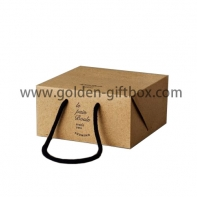 Box design shopping bag with black cotton handle
