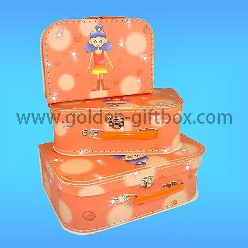 Little Princess stitching suitcase set in ornage colour with  metal handle & lock