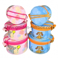Round shape stitching box set with differnet animal pattern design
