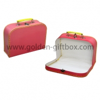 Plain colour stitching box in pink colour with yellow metal handle & lock