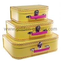 Stitching suitcase set of 3 in yellow colour with pink metal handle & lock