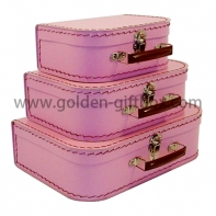 Stitching suitcase set of 3 in pink colour with brown metal handle & lock