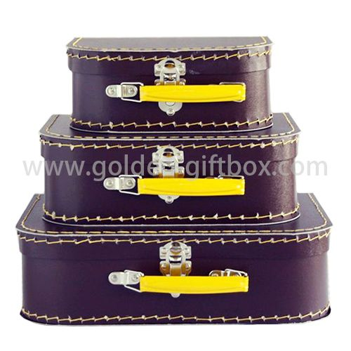 Kids' toys suitcase purple colour with yellow metal handle & lock