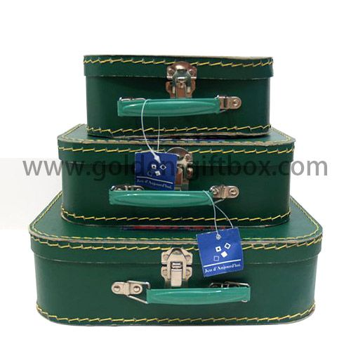 High quality stitching suitcase set of 3 in green colour with blue metal handle & lock