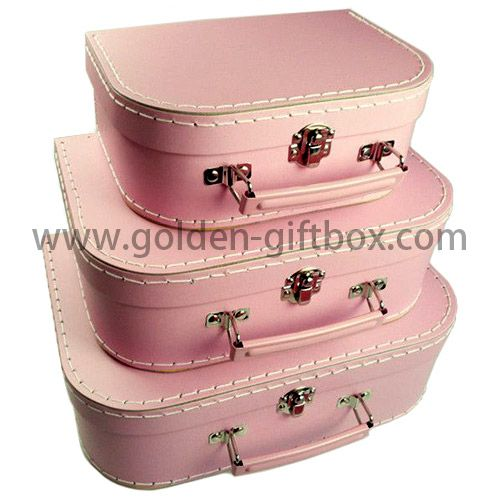 Pink suitcases with pink metal handle & lock