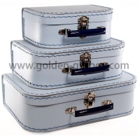 Deluxe stitching suitcase set of 3 in pearl white colour with black metal handle & lock