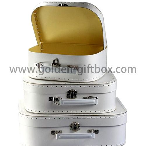 Pearl white suitcase with stitching lines and white metal handle & lock