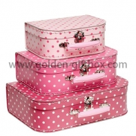 Custom-made suitcase set 3 in 1 with stitching lines and metal handle & lock