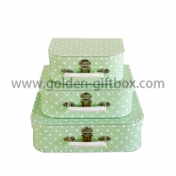 Green hand stitching suitcase set of 3 with white metal handle & lock