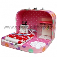 Special design suitcase with toys set and stitching line