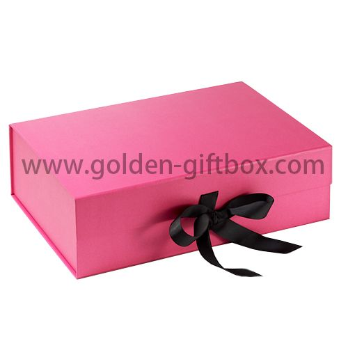 Pink colour foldable box with ribbon bow for gift packaging