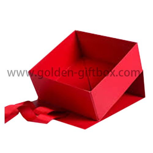 Foldable paper box with display function and red ribbon bow